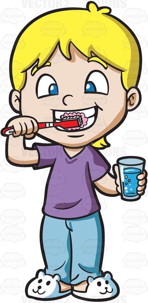 A cute boy brushing his teeth #cartoon #clipart #vector # ...