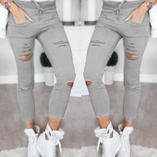 Womens Slim Fit Faded Stretchy Pencil Pants Skinny Denim Look Jeggings Trousers