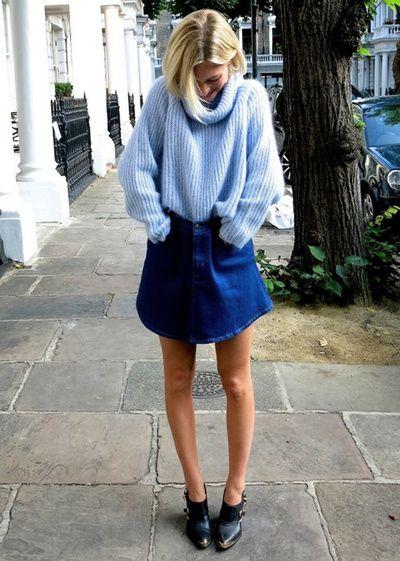 Le pull bleu ciel en maille mousseuse, un des must have de la rentrée !