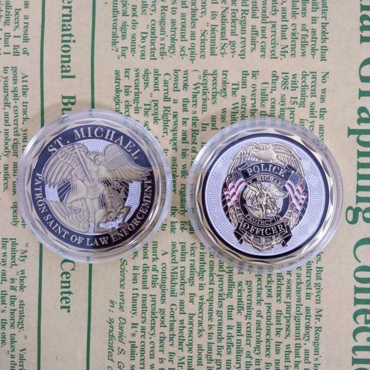 1 PC הגעה חדשה קצין משטרת אתגר מטבע ST Michael פטרון הקדוש של אכיפת חוק, ברונזה מצופה מטבע, ארצות מדינת מטבע