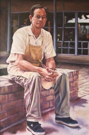 Self Portrait With Pavers  61Cm X 80Cm. Oil On Primed Board. Phillip Carrero.