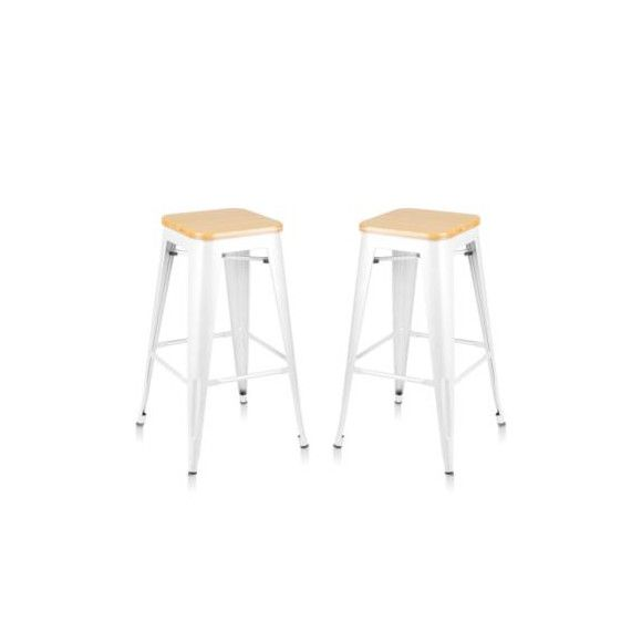 Set of 2 Tolix Replica Metal Steel Bamboo Seat Bar stool 76 cm White