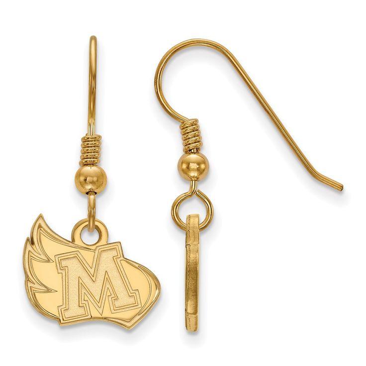 Sterling Silver w/GP LogoArt Meredith College Small Dangle Earrings