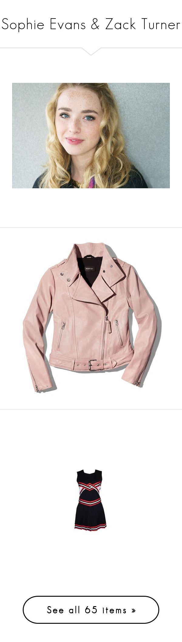 """""""Sophie Evans & Zack Turner"""" by desert-witch ❤ liked on Polyvore featuring freya mavor, freya, outerwear, jackets, tops, mackage jacket, pink jacket, moto biker jacket, rider leather jacket and pink biker jacket"""
