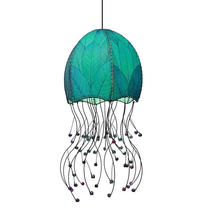 Features:  -Jellyfish hanging sea blue.  -Eco friendly.  -Fair trade.  -Handmade.  Product Type: -Foyer pendant.  Style: -Asian Inspired.  Shade Color: -Aqua.  Finish: -Black.  Hardware Finish: -Black