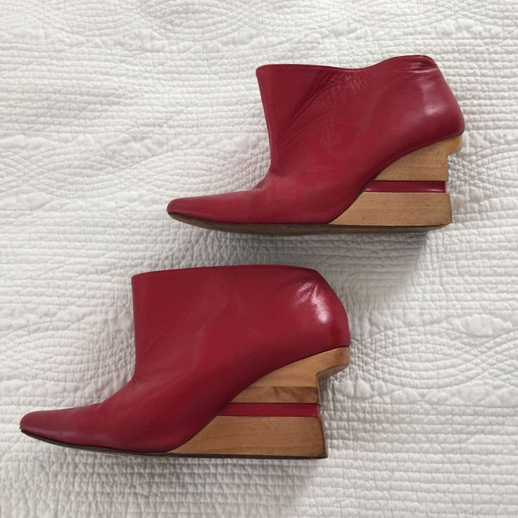 Michelle Mason Red Wedge Heels Ankle Boots With Heel Cutouts | eBay