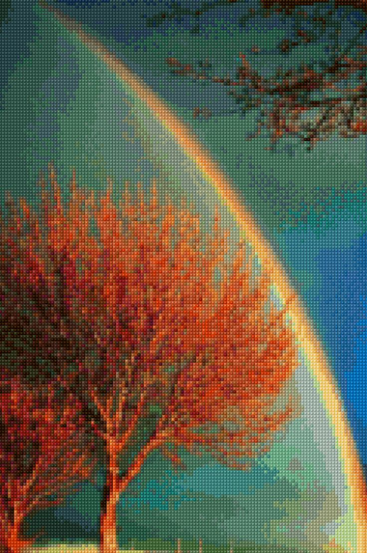 Dramatic Rainbow Sunset landscape Cross Stitch pattern PDF - Instant Download! by PenumbraCharts on Etsy