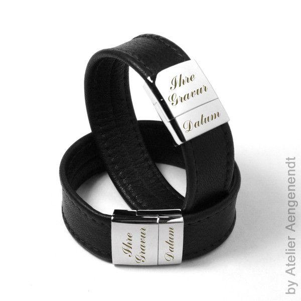 Armbänder - LA-N (S) Damen & Herren Lederarmband mit Gr... - ein Designerstück von Fotoschmuck24 bei DaWanda