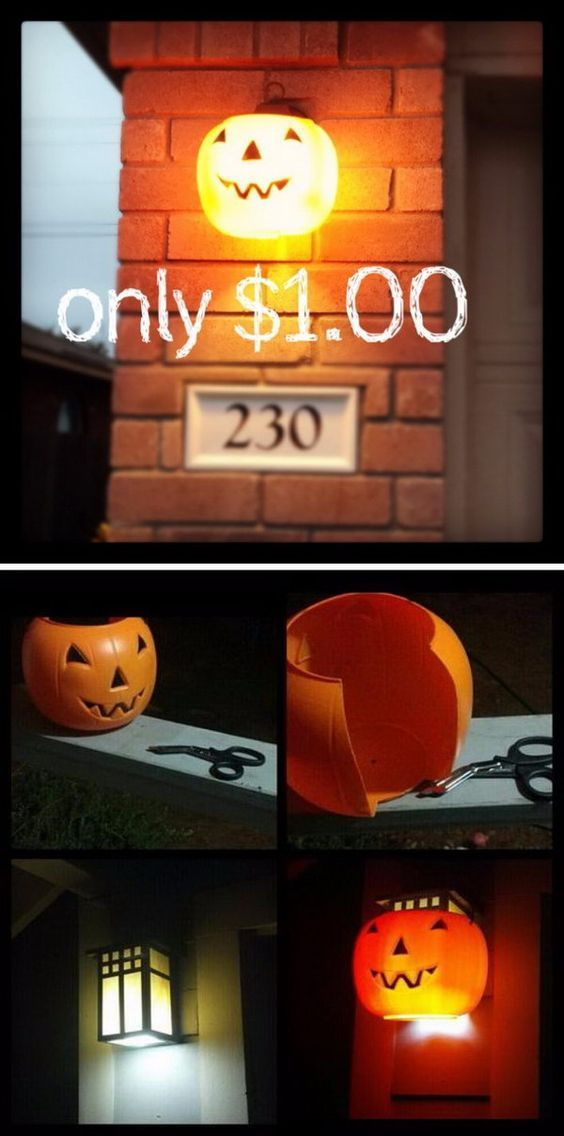 Put $100 Plastic Pumpkins Over Outdoor Porch and Garage Lights - diy halloween party decorations