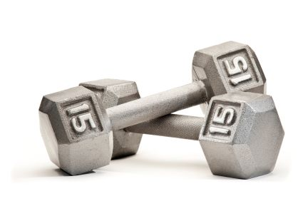 15 lb. dumbbells ---- my comfort zone.