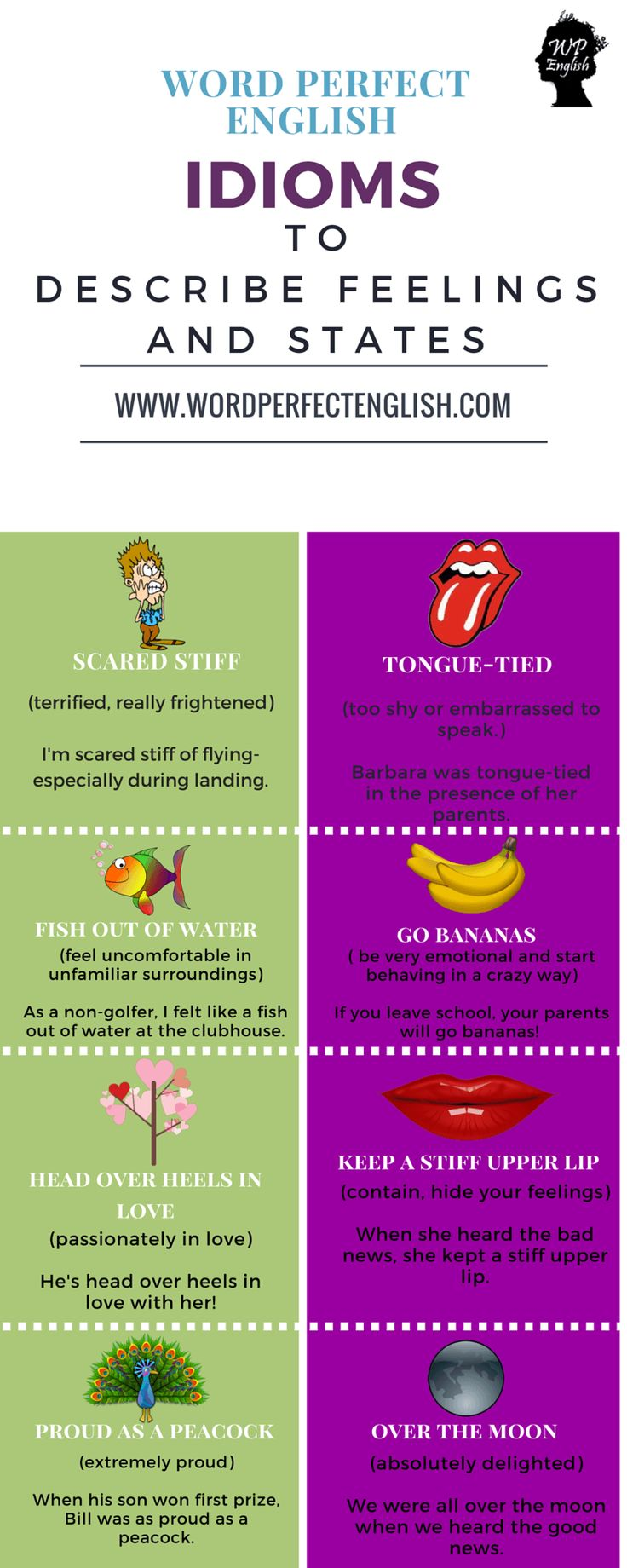 Idioms to Describe Feelings and States 2/2                                                                                                                                                                                 More