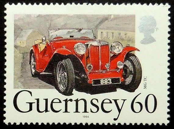 Classic Car MG TC -Handmade Framed Postage Stamp Art 18812