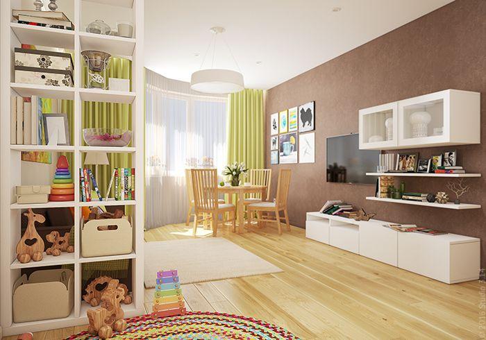 """Гостиная из проекта """"Трешка в пастельных тонах"""" совмещает в себе столовую зону, ТВ-уголок и игровую для ребенка."""