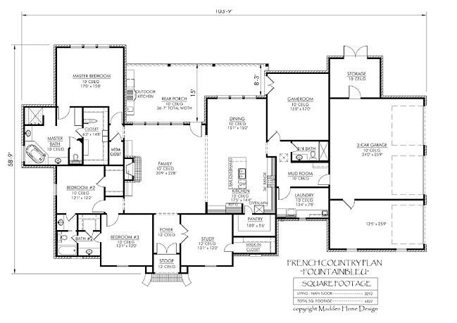 Madden home design the fountainbleau house plans for Madden house plans