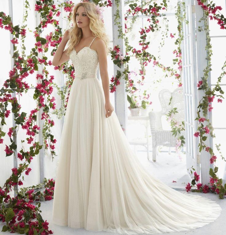 A-Line Spagetti Straps Lace Wedding Dress