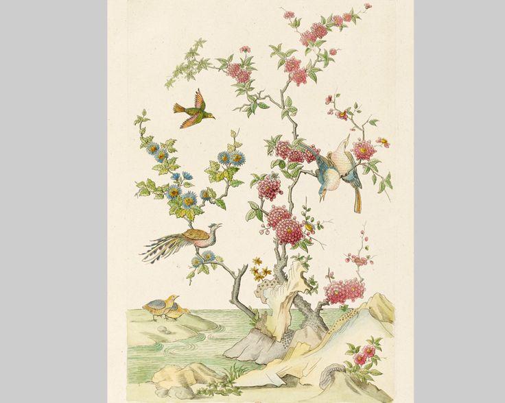 Oiseaux chinois papier peint inspiration pinterest - Papier peint oiseaux ...