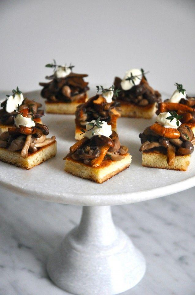 Wild Mushrooms on Brioche Crostini by kitchenculinaire #Appetizers #Crostini #Mushrooms