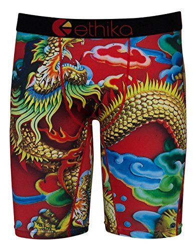 ETHIKA Fire Dragon Staple Mens Boxer Briefs, Multi, Large:   Ethika The Staple long boxer briefs. No pull-down. No gathering. Soft 4-way stretch fabric. High quality jacquard waistband. 90% polyester/10% spandex. Machine wash. Imported. Size Chart: S: 28-30 M: 30-32 L: 33-35 XL:36-38