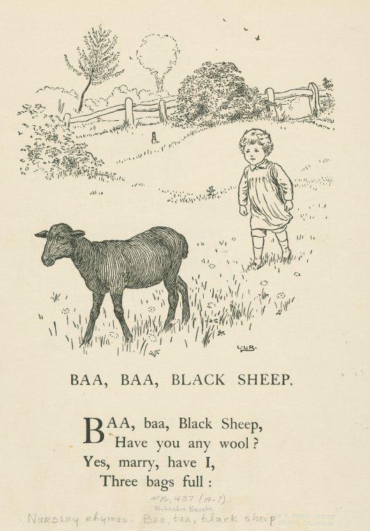 Baa, baa black sheep children's book illustration. Brooke, L. Leslie (Leonard Leslie) (1862-1940) (Artist)