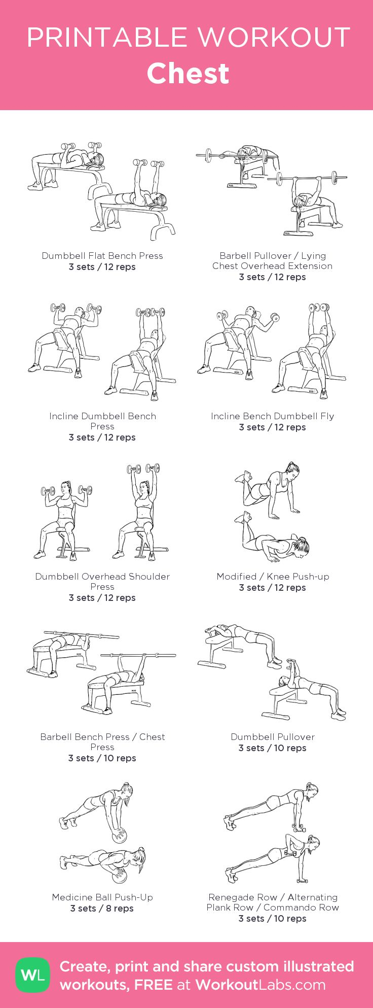 Chest – my custom workout created at WorkoutLabs.com • Click through to download as printable PDF! #customworkout