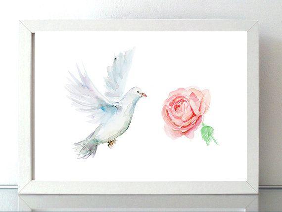Witte duif met roos illustratie  duif aquarel  Print door Zendrawing