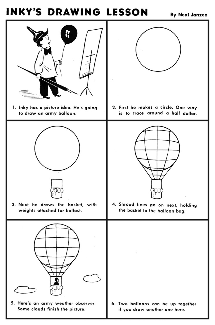 Inky's Drawing Lesson: Hot Air Balloon | Art Lessons ...
