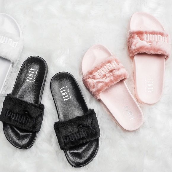 Puma Fenty Slides True to size pink 42 black  & 42 160️️ Puma Shoes Slippers
