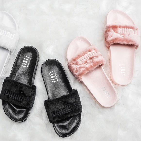 Puma Fenty Slides True to size pink 42 black  & 42 160️️ Puma Shoes Slippers