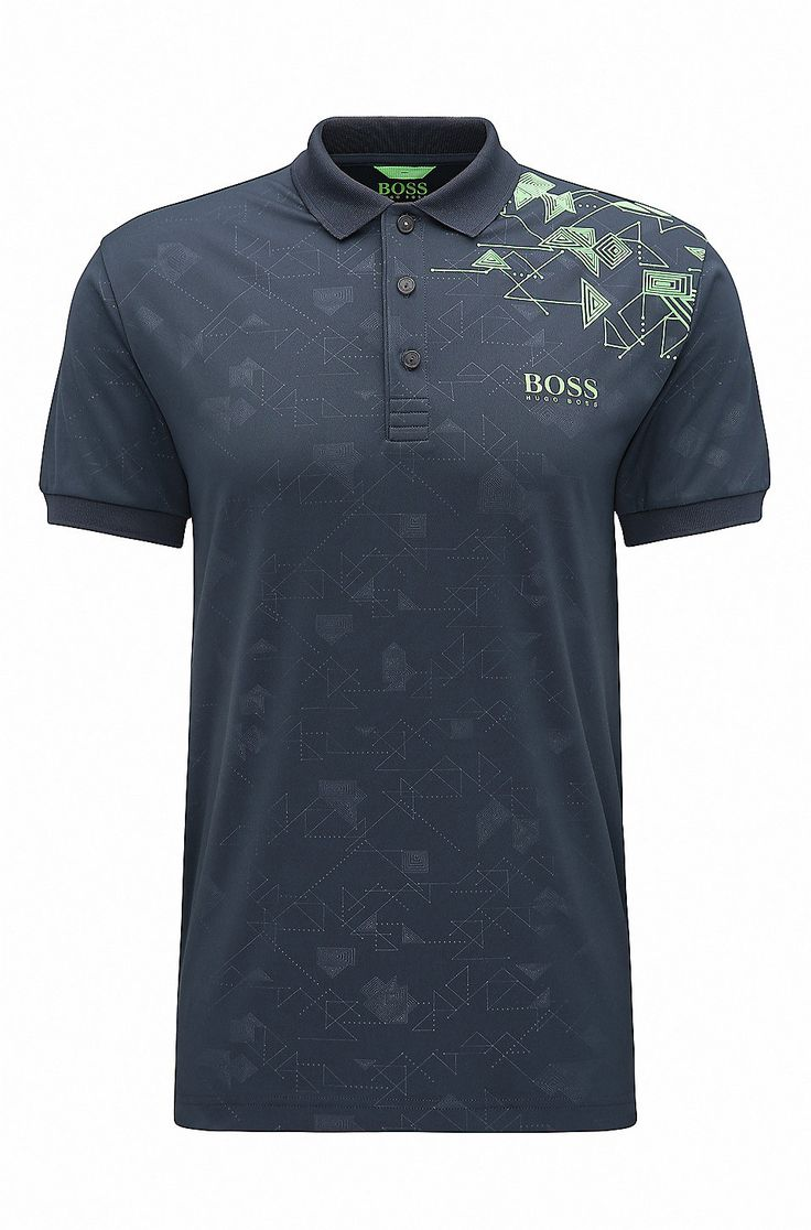 Slim-fit printed piqué polo shirt with S.Café®  Dark Blue from BOSS Green for Men for £109.00 in the official HUGO BOSS Online Store free shipping