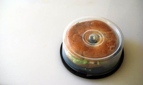 ha ha! CD holder spindle into bagel sandwich holder