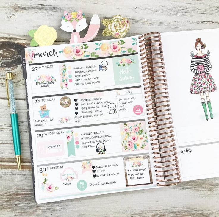 Layout in my horizontal Erin Condren Life Planner using our Hello Spring Kit  #plannergirl #plannerlayout #erincondren #lifeplanner #springstickers #eclphorizontal