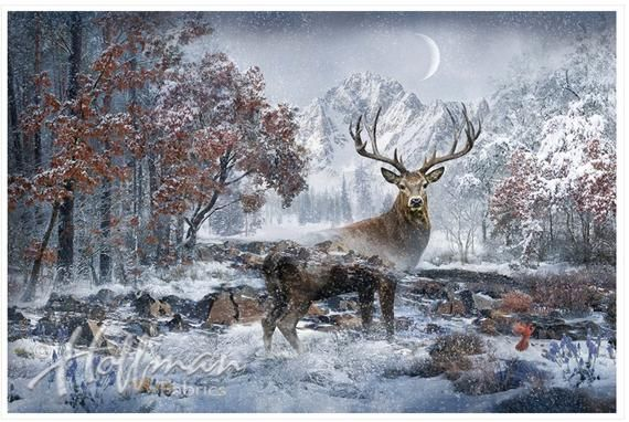 North American Wildlife Deer Snow White Winter Scenic Cotton Fabric
