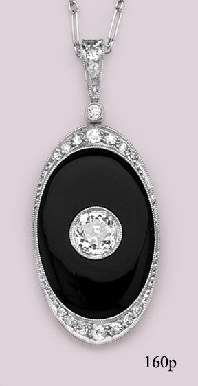 Art deco Onyx, European-cut Diamond, Diamond, Platinum, Necklace, French, at Nelson Rarities,Inc.