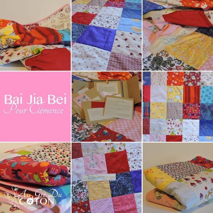 Bai Jia Bei pour Clémence  #baijiabei #anniversaire #1an Assemblé en Novembre 2016 Nombre de voeux : 35 Dimensions : 100 cm x 140 cm Composition : Coton Couleur dominante : Multicolore  Évènement : Pour son premier anniversaire