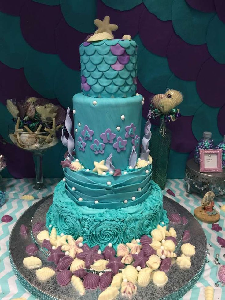Under the sea birthday party cake! See more party planning ideas at CatchMyParty.com!