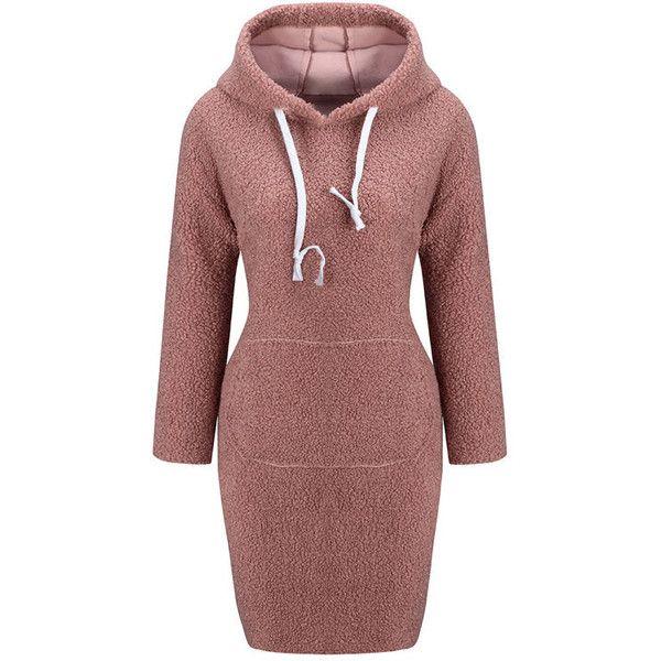 Plain Dresses Drawstring Hooded Bodycon
