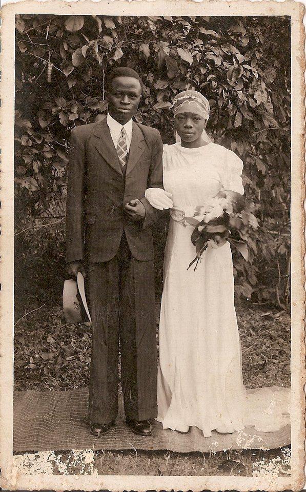 Mr & Mrs John Oke Agbede 1st white wedding in Igede Ekiti Western Region of Nigeria. January 11, 1940