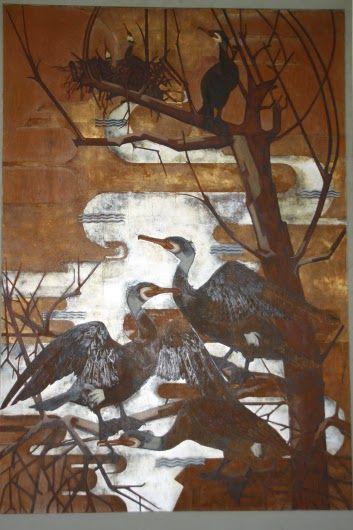 Voor de gemeente Lekkerkerk maakte Fiep Westendorp een wandschildering van de plaatselijke aalscholverkolonie. Dat was al in 1939, toen ze nog op de Kunstacademie in Rotterdam zat. Fiep bestudeerde de aalscholvers ter plekke, gehuld in regenjas en met een enorme paraplu boven haar hoofd om zich te beschermen tegen de vogelpoep