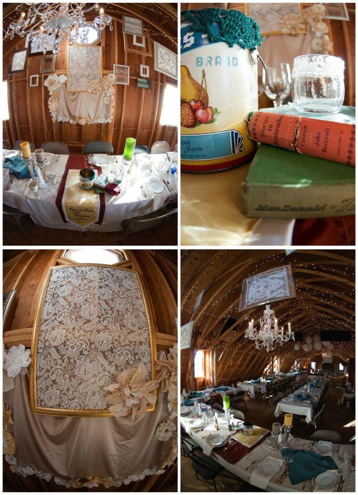 Barn wedding, old lace, vintage tins: Dessa S Wedding, Reception Stuff, Vintage, Barn Weddings, Bridesmaid Ideas, Bridal Shower, Chapel Dessa S, Bachelorette Party