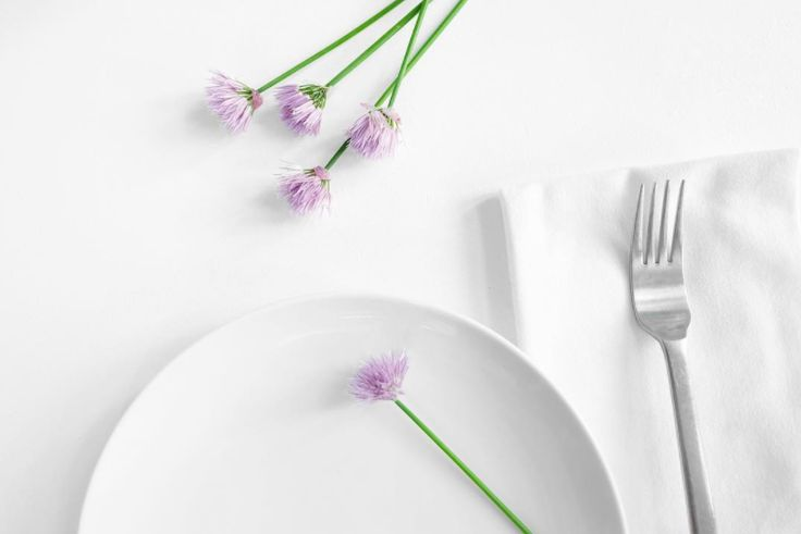 Dill flowers to decorate the table.#JonnyHetheringtonEssentials #Chives #Flowers #Purple #Blossom #Bloom #Plates #Supper #Dinner #Meal #White #Dishes #Fork #Napkin #Setting #TableSetting #Simple #Minimalist #Green #Herb #Spring #Light #Photography