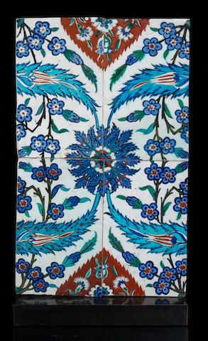 Iznik pottery Tile Panel Turkey, circa 1570 54.5 x 32 cm.