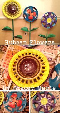 Hubcap flowers by Stacey Marie via Empress of Dirt Facebook page  source img