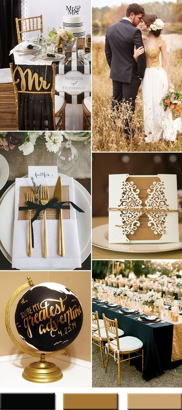 modern black and gold wedding colors for 2017
