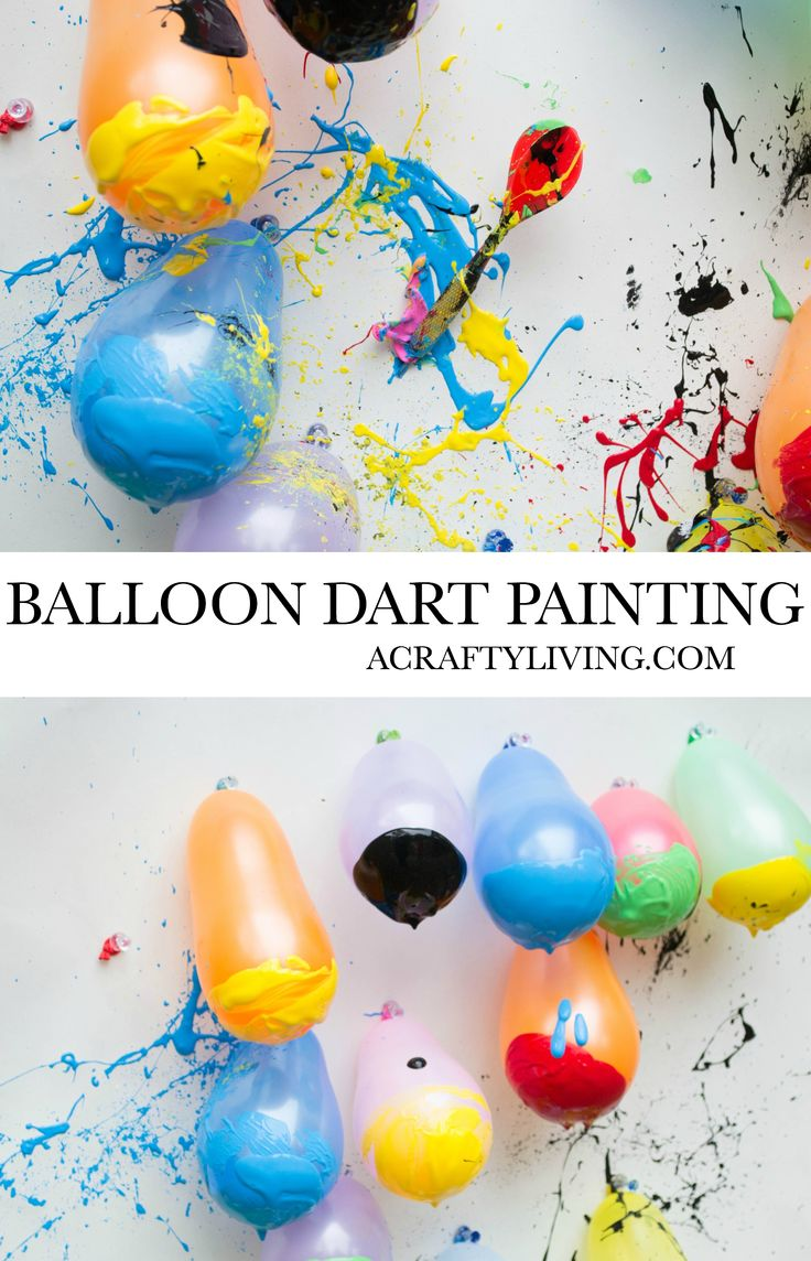 Balloon Dart Painting with Kids! A fun outdoor activity! www.acraftyliving.com