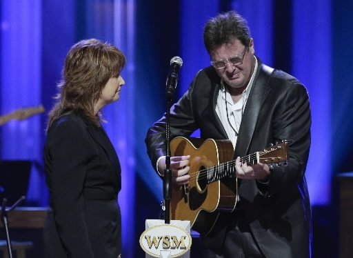Vince Gill cries as he performs with Patty Loveless during the funeral for country music star George Jones in the Grand Ole Opry House on Thursday, May 2, 2013, in Nashville, Tenn. Jones, one of country musics biggest stars who had No. 1 hits in four separate decades, died April 26. (AP)