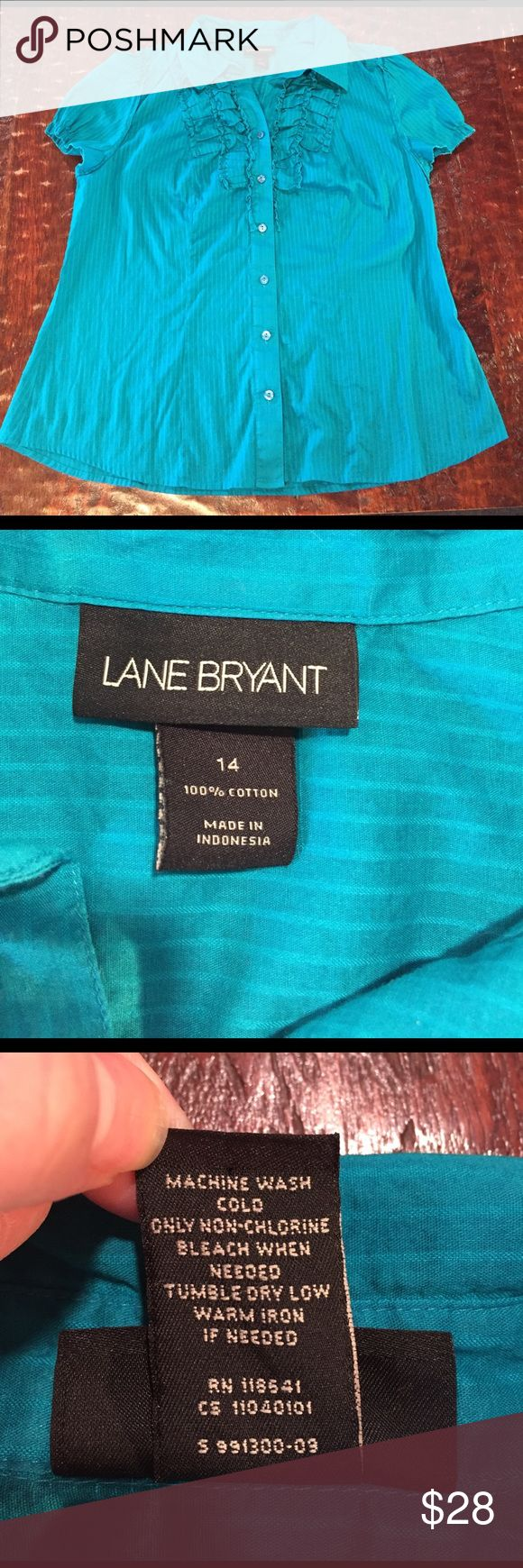 """Lane Bryant Cap Sleeve Blouse Lane Bryant Cap Sleeve Blouse Size 14. Blouse is 25"""" from shoulder to hem. Bust measures 20"""" laying flat. Blouse is in excellent condition with no signs of wear. Comes from a Smoke Free/Pet Friendly home. Offers always welcome. Lane Bryant Tops Blouses"""