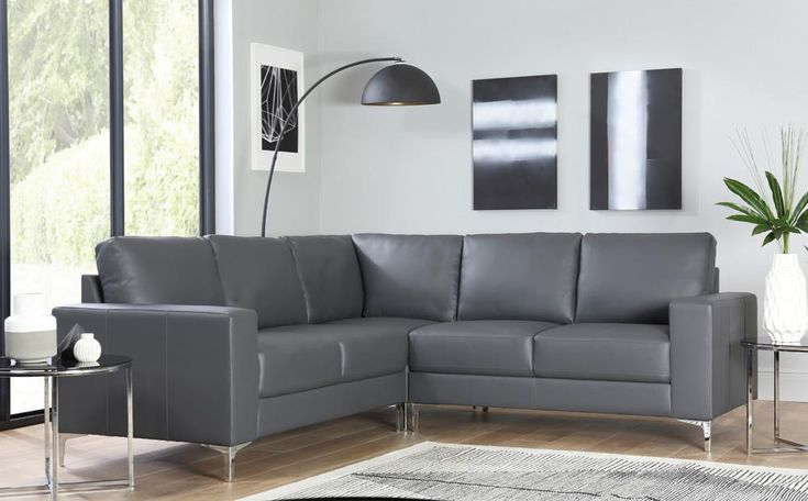 Baltimore Grey Leather Corner Sofa Only £699.99 | Furniture Choice