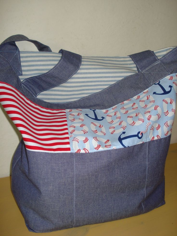 Cotton canvas beach bag reversible featuring Blend & M.Miller fabrics
