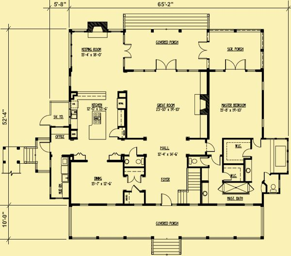 Architectural house plans floor plan details low for Low country floor plans