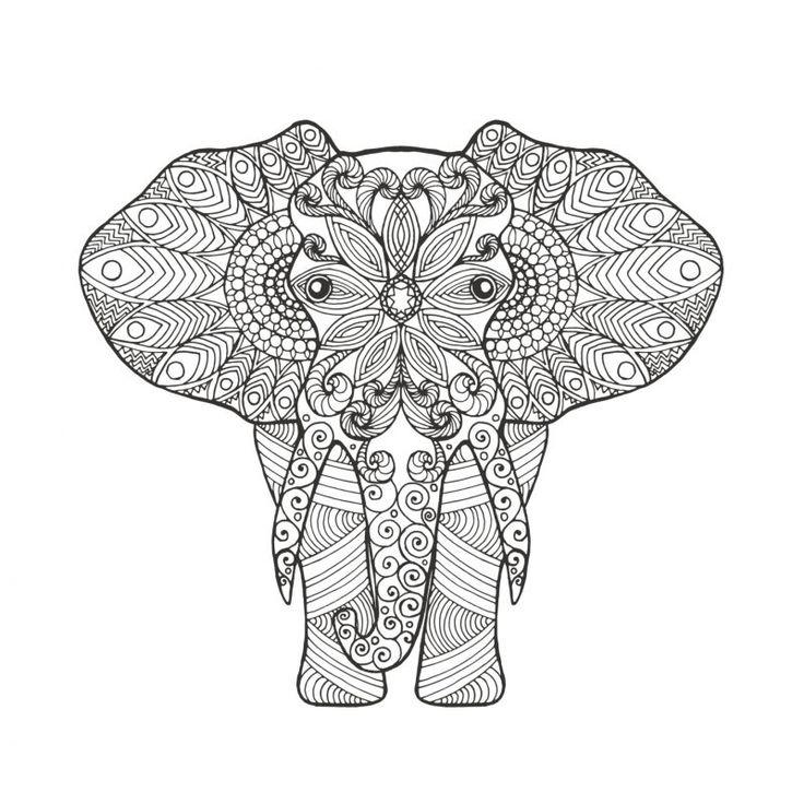mandala forma elefante para colorear